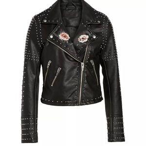 Blank NYC Printed Studded Moto Jacket